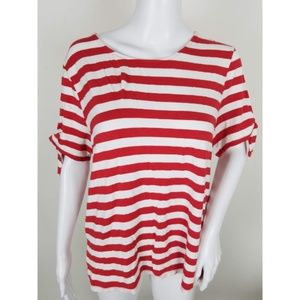 Chicos Striped Tied Short Sleeve Top
